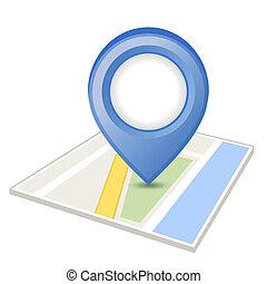 blå, karta stift