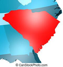 blå, karta, syd, usa, carolina
