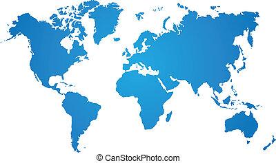 blå, karta, vit fond, värld
