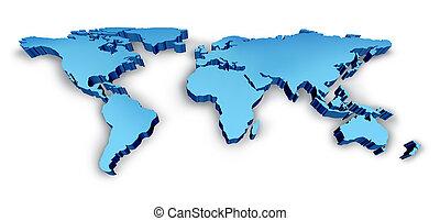 blå, karta, wold, 3