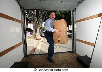 blå, karton, skjorte, bokse, bær, truck., tom, mand