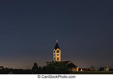 blå, kirke, himmel, frankenthal, stjerner, nigth