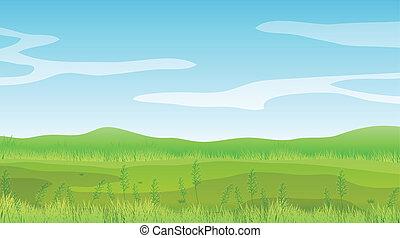blå, klar sky, fält, under, tom