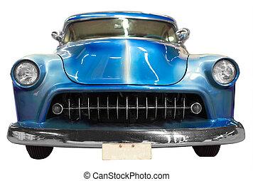 blå, klassisk, årgång, bil