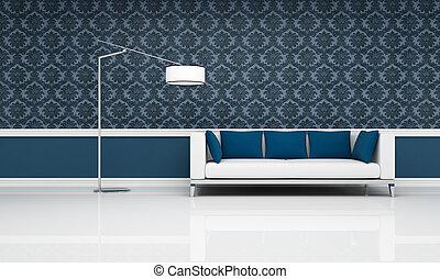 blå, klassisk, soffa, nymodig, inre, vit