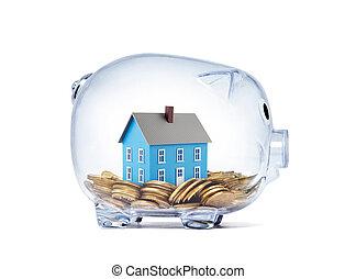 blå, klippning, hus, insida, nasse, pengar, bana, transparent, bank