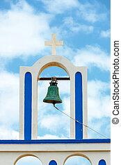 blå, klocka, sky, mot, grekisk kyrka