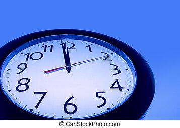 blå, klocka