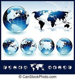 blå, kloder, hos, verden kort