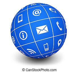 blå, klot, kontakta, oss, ikonen