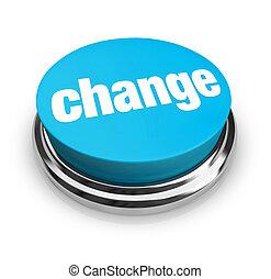 blå, knapp, -, ändring