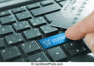 blå, knapp, betalning