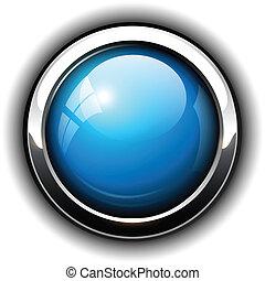 blå, knapp, glänsande