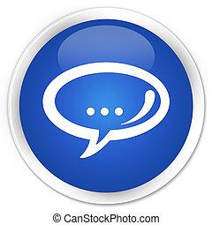 blå, knapp, glatt, pratstund, runda, ikon