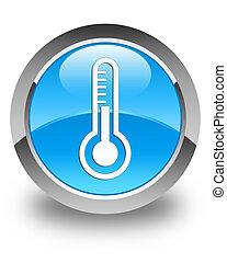 blå, knapp, glatt, termometer, cyan, runda, ikon