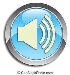 blå, knapp, högtalare