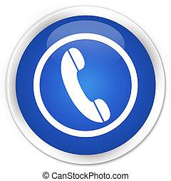blå, knapp, ringa, glatt, runda, ikon