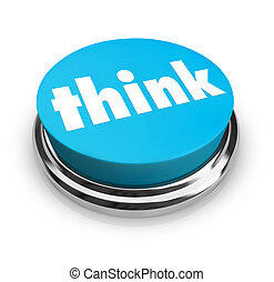 blå, knapp, -, tänka