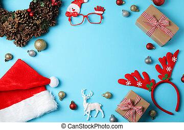 blå, komposition, utrymme, jul, text, bakgrund, struntsak