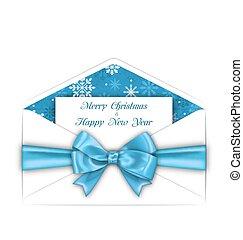 blå konvolut, hils, bøje sig, card, glædelig jul, bånd
