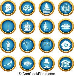 blå, korea, ikonen, sätta, cirkel, syd