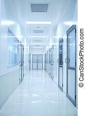 blå, korridor