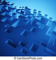 blå, kuben, komposition, tapet