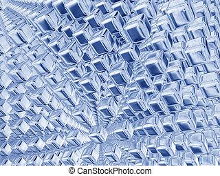 blå, kuben, silver