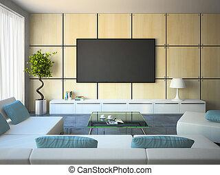blå, kuddar, nymodig, sofas, inre, vit