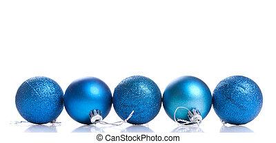 blå kula, utrymme, text, dekoration, fem, bakgrund, vit jul