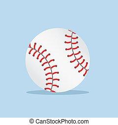 blå kula, vektor, vit, illustration, skugga, bakgrund, block, baseball
