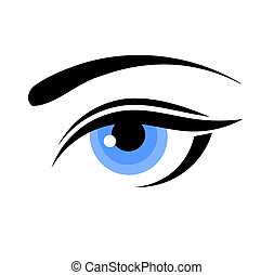 blå, kvinna öga