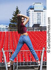 blå, kvinna, jeans, ung, baksida, brunett, stående, utsikt.