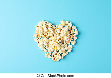 blå, lägenhet, utrymme, text, hjärta, bakgrund, lägga, popcorn, komposition