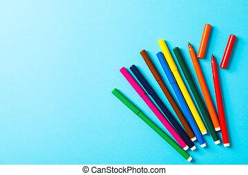 blå, lägenhet, utrymme, text, märken, flerfärgad, bakgrund, lägga, komposition