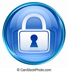 blå, låsa, ikon