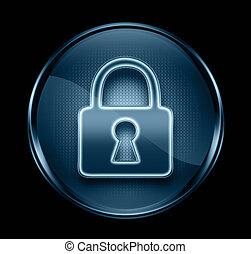 blå, låsa, isolerat, mörk, bakgrund., svart, ikon