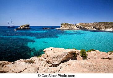 blå, lagun, malta