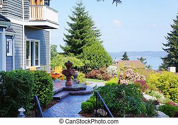 blå, landskap., vacker, fontän, hus
