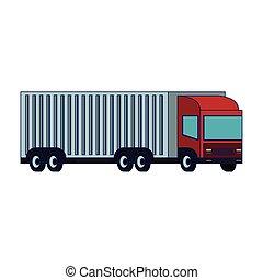 blå, last behållare, fodrar, isolerat, lastbil, släpvagn