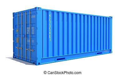 blå, last beholder, isoleret, white.