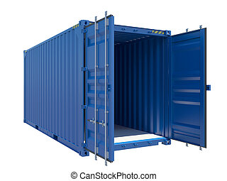 blå, last, container., isoleret, hvid, åbn