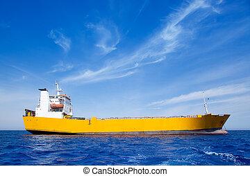 blå, last, gul hav, anker, båd