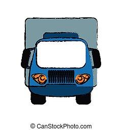 blå, lastbil, lille, last, transport, skitse