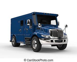 blå, lastbil, pansrad, transport
