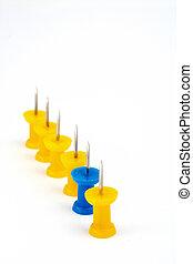 blå, leder, indstille, gul, hold