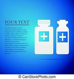 blå, lejlighed, flasker, medicinsk illustration, baggrund., vektor, ikon