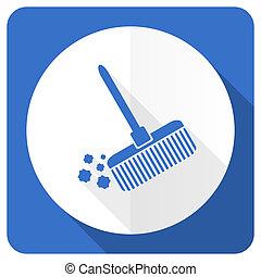blå, lejlighed, kost, tegn, rense, ikon