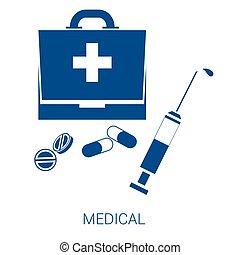 blå, lejlighed, medicinsk, vektor, baggrund, hvid, ikon