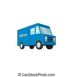 blå, leverans transportera